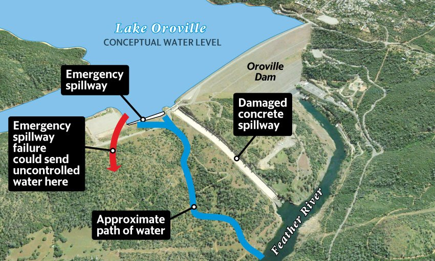 Map Of California Oroville Dam.Oroville Dam Spillway Ussd United States Society On Dams